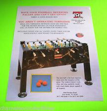 TORNADO TABLE SOCCER Foosball Original NOS Arcade Table Hockey Promo Sales Flyer