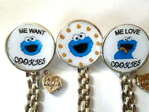 Cookie Monster Nurse Watch Fob Watch Clip Back Silver Heart I Love Cookie Charm