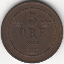 More details for 1882/1 sweden 5 ore | scarce high grade | pennies2pounds