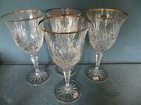 "4 Water Goblets Richmond ROGASKA Gold Trim 7-7/8"" Tall Signed Multi-Sided Stem"