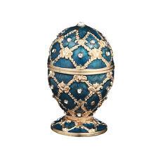 Decorative Faberge Egg / Trinket Jewel Box Grid / Rhombus 2.4'' (6cm) blue