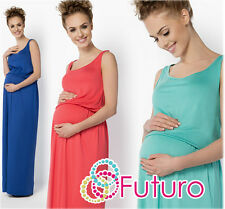 Ladies Maternity Long Summer Vest Tank Maxi Dress Sleeveless Plus Size 8-18 FM21