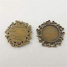 30pcs Vintage Bronze Lace Style Round Cameo Setting Alloy Necklace Pendant Craft