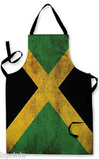Splashproof Novelty Apron Jamaican Grunge Flag Cooking Painting Art Kitchen BBQ
