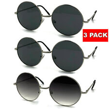 3 Pair Large Round Sunglasses Retro Hippie John Lennon 60s 70s Silver Circle XL