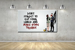 Banksy Anarchy Punk Canvas, R.T.H. Wall Picture Stretched & Framed Decor 4 Sizes
