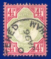 1892 SG206 4½d Green & Carmine K34(1) Fine Used Birmingham CV £45 afrq