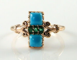 DAINTY 9K 9CT ROSE GOLD PERSIAN TURQUOISE EMERALD ART DECO INS RING FREE RESIZE
