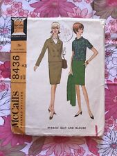 MCCALL'S 8436 sewing pattern 1966 COMPLETE vintage Misses suit Blouse 1960s