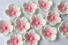 24 edible pink and white blossom flowers  cupcake flower decorations