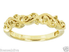14K YELLOW GOLD OVER STERLING SILVER YELLOW DIAMOND FLORAL WEDDING BAND RING 7