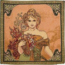 "NEW ALPHONSE MUCHA ""SPRING / PRINTEMPS"" 18"" BELGIAN TAPESTRY CUSHION COVER 15G"