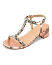 WOMENS ROSE GOLD WIDE FIT PEEP-TOE WEDDING PARTY EVENING SANDALS SHOES SIZES 4-9