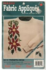 Vintage Poinsettia Swag Iron-on Applique Kit Fabric 56112 Christmas Holiday NEW
