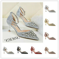 Womens Sequins Glitter Crystal Pointy Toe Ankle Strap Buckle Pumps Sandals Party