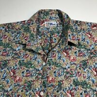 Vintage Reyn Spooner Rose Themed Mens Large Aloha Hawaiian Shirt Button Down