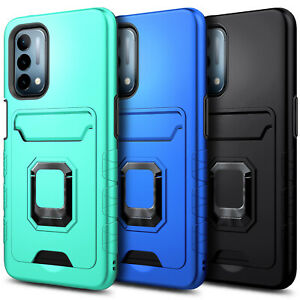 Case For OnePlus Nord N200 5G, Card Holder Kickstand Cover With Tempered Glass