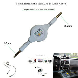 New Gold 3.5mm Retractable Aux Line in Audio Cable for Car Mobile phone MP3 MP4