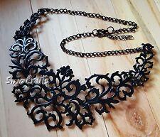 BLACK Vintage Pendant Chain Choker Chunky Statement Bib Necklace