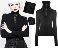 Pull haut col montant zippé gothique punk lolita fashion maille côtes Punkrave