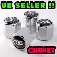 Audi 4 x Dust Caps Chrome Silver Valve Covers Wheel Tyre Tire Set of 4 S line !!
