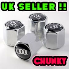 Audi 4 x Dust Caps Chrome Silver Valve Covers Wheel Tyre Tire Set of 4 S line !!