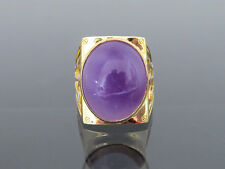 Vintage 18K Solid YG Natural Purple Lavender Jadeite Jade Mens Ring Size 10