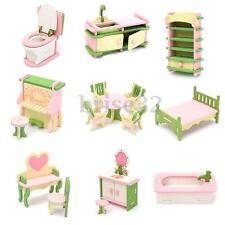 Lot 15 Set Wooden Dollhouse Miniature Furniture Puzzle Model Children Kids Toys