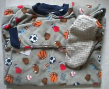 NWT Carters Boys Size 14 Fleece Footed Feety Feet Pajamas Sports Pattern Balls
