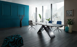 """""""WESTIN"""" Black or Grey or Marble Top & Black Metal Legs Extendable Dining Table"""