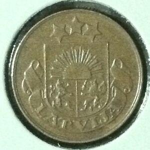 Latvia  2 Santimi  KM 2  Brn Unc  1932