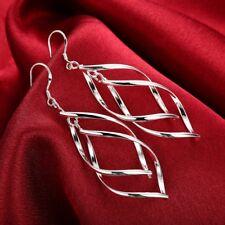 Womens Silver Twist Spiral Long Drop Dangle Charm Earrings #E27