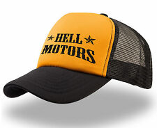 Trucker Cap Marrone Motors stampato motivo Oldschool Hot Rod Biker US Car Rock N Roll