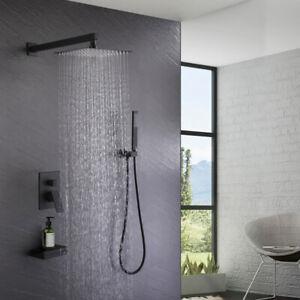 "10"" Rain Shower Head Bath Faucet Set Tub Spout Hand Spray Wall Mounted Concealed"