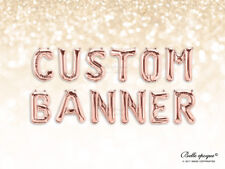 ROSE GOLD BALLOONS, GOLD LETTER, BIRTHDAY SILVER 16 INCH CUSTOM NAME, AGE BANNER