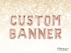 ROSE GOLD BALLOONS, GOLD LETTER, BIRTHDAY SILVER 14 INCH CUSTOM NAME, AGE BANNER