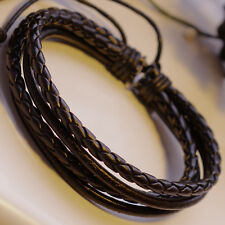Mens Braided Leather Surfer Wristband Bracelet