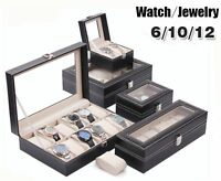 Leather Watch Jewelry Display Storage Holder Case 12 Grids Box Organizer Gift Ql