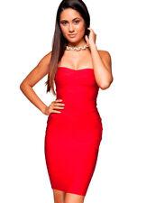 House of CB 'Leyla' Red Strapless Bandage Dress M 10 / 12 MA 801