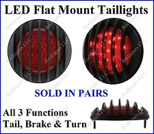 Black Flat Mount Red LED Taillights Roll Pan Bumper Custom Chevy Truck UR17GB
