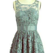 BB Dakota Women's Size 4 Blue Gray Lace Illusion A line Dress