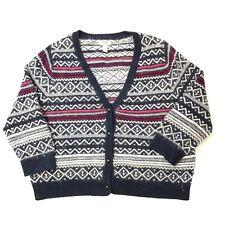 Lands End Canvas Women's Large Cardigan Sweater Mohair Blend Fair Isle V Neck
