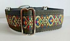 "Martingale Dog Collar 1.5"" wide multi gold Greyhound Lurcher Saluki Podenco"