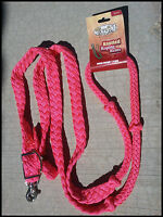 TOUGH-1 KNOTTED CORD BARREL REINS ROPING POLY WESTERN 7 FEET PINK HORSE TACK