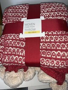 Next Woven Pom Pom Throw 125 X 160 Cms New Christmas Gift