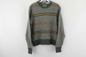 Vintage 80s Izod Lacoste Mens Small Houndstooth Striped Crewneck Sweater Gray