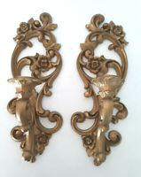 VTG HOMCO Hollywood Gold Set 4118 Wall Candle Holder Sconce MCM Floral 15""