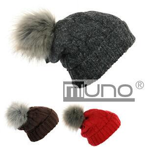 Miuno® Bommelmütze Zopfmuster Winter Strickmütze mit Teddyfutter MJ172