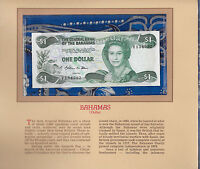 Most Treasured Banknotes Bahamas 1984 1 Dollar P-43a UNC Prefix V Allen