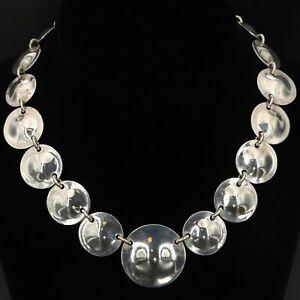 "VTG Sterling Silver - HEAVY Modernist Disc Statement Collar 16"" Necklace - 67g"